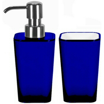 Bath accessories with flared modern design in jewel tones - Cobalt blue bathroom accessories ...
