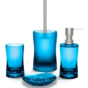 Modern bright colored bath accessories for Aqua colored bathroom accessories