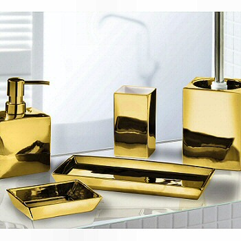 Elegant silver or gold bathroom accessories luxurious for Blue and gold bathroom accessories