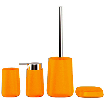 Contemporary bathroom accessories made from break for Orange toilet accessories