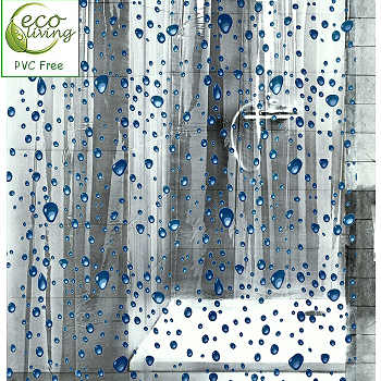 Bubbles Clear Childrens Peva Shower Curtain With Blue