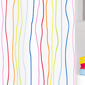 Rainbow Multi Color Fabric Mildew Resistant Shower Curtain Great For Kids