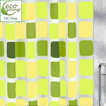 Sonny Contemporary Peva Shower Curtain Square Pattern