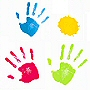 kids handprint design PVC Free shower curtain with fun bright colors
