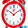 novelty no liner needed fabric shower curtain with alarm clock with royal blue, ruby red and deep dark pink colors