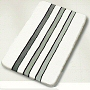 striped contemporary rug in black with grey stripes or white with grey stripes