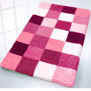 Caro Checker Pattern Rich Multi Color Plush Bathroom Rug