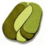 luxury high pile oval bathroom rug with scultped design in moss green, beige, pink, orange and old rose