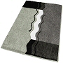 sculpted medium pile contemporary bath rug in platinum grey, brandy, palm green, lavender, eggplant or fawn brown with coordinated elongated lid covers