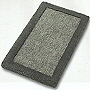 solid color unique plush bathroom rug design with dark contrasting border in dark blue, wine red or slate grey